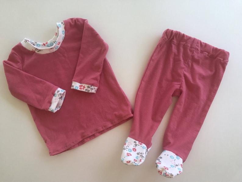 048c6f5528df Footed Pajama Pants Sleepwear Cotton Knit Footie Pants Set