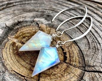 Rainbow moonstone earrings Raw moonstone earrings Flashy moonstone drop earrings Moon stone point earrings Angel aura moonstone jewelry