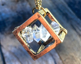 Herkimer Diamond Necklace Raw Herkimer diamond pendant Healing crystal cage Cube necklace Double terminated quartz crystal bar necklace