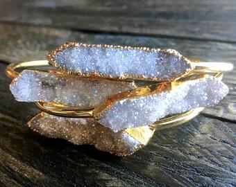 Druzy jewelry Best friend gift ideas Raw crystal bracelet Rose gold druzy bracelet Angel aura quartz bracelet Druzy bangle Geode bracelet