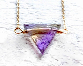 Real ametrine crystal necklace for women Raw ametrine necklace for her Natural ametrine jewelry Genuine ametrine pendant necklace