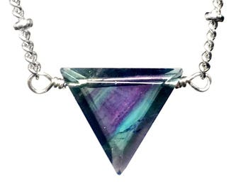 Fluorite pendant etsy rainbow fluorite necklace dainty triangle necklace triangle gemstone necklace violet purple and green fluorite pendant raw fluorite jewelry aloadofball Images