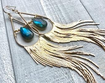 Raw labradorite earrings gold dangling earrings Long gemstone drop earrings Long boho earrings dangle Crystal tassel fringe earrings