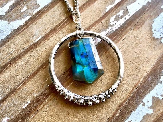 Golden /& Blue Flashy Pendant Healing Power Pendant Birthstone Pendant Gift For Her AAA+++ Dual Flashy Labradorite Pendant