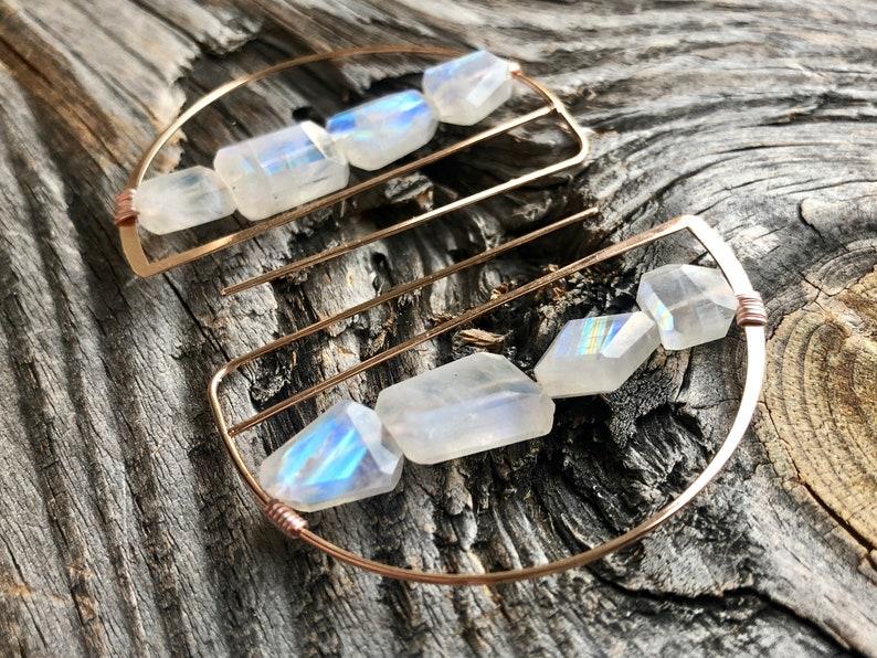 Rainbow moonstone Rose gold hoop earrings for women Raw stone earrings hoop earrings with stones Moon stone earrings Half circle earrings