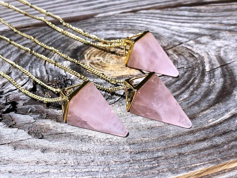 Rose quartz necklace Meditation necklace Raw rose quartz crystal pendulum Wiccan jewelry Sacred Geometry Crystal pyramid pendant