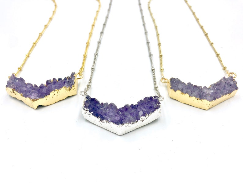 Raw amethyst point pendant Chevron amethyst geode necklace Amethyst chevron necklace Amethyst arrowhead necklace for women Druzy chevron