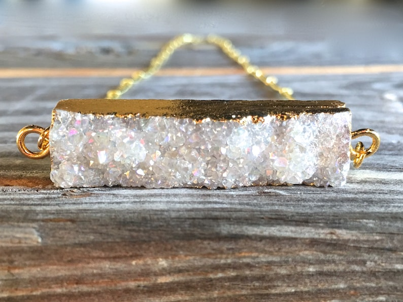 Raw Druzy bar necklace gold Angel aura crystal necklace image 0