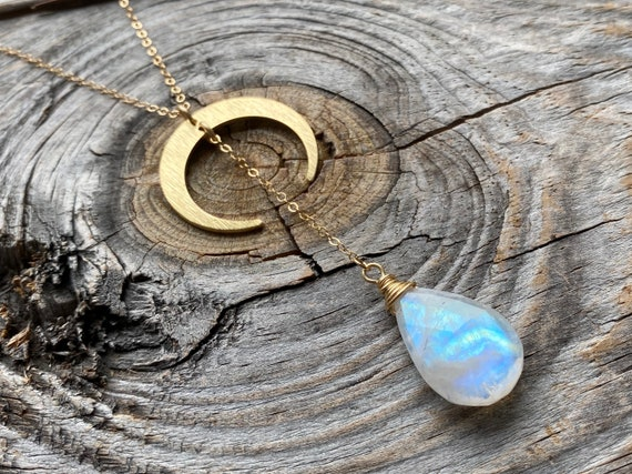 Rainbow Moonstone Abalone Double Horn  Lariat Necklace Crescent Y Drop Necklace