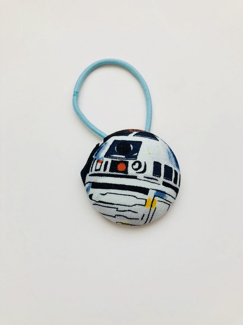 Star Wars R2D2 Fabric Covered Giant Button Ponytail Holder image 0