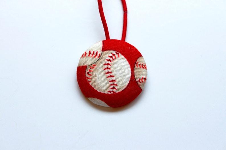 Baseball Fabric Covered Giant Button Ponytail Holder image 0