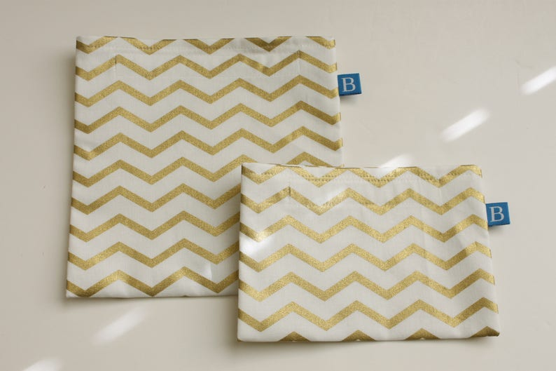 Reuseable Eco-Friendly Set of Snack and Sandwich Bags in Gold image 0