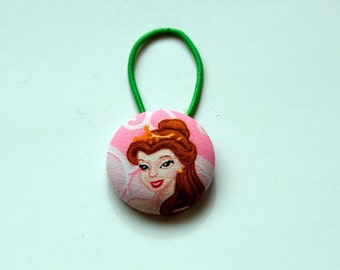 Belle Fabric Covered Giant Button Ponytail Holder
