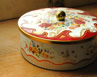 Vintage Floral Daher Made in England Container Lidded Tin