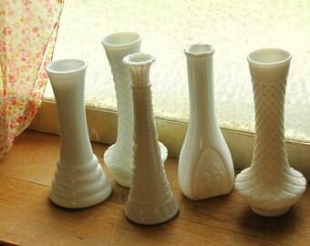 Five Vintage Milkglass Flower Vases Instant Unique Collection