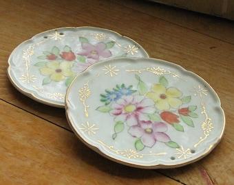 Set of Miniature Floral Porcelain Plates Made in Japan