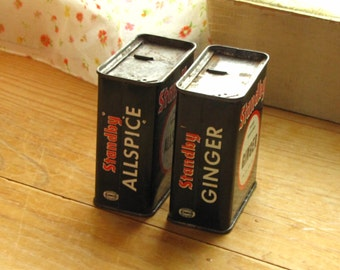 Vintage Standby Spice Tins Containers Set of 2 Allspice Ginger