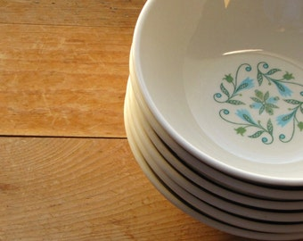Six Vintage Blue Green Mid Century Modern Canonsburg Florence Cereal / Soup Bowls