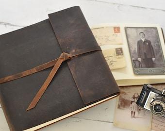 Leather Photo Album - rustic leather album w/wrap closure - Claire Magnolia