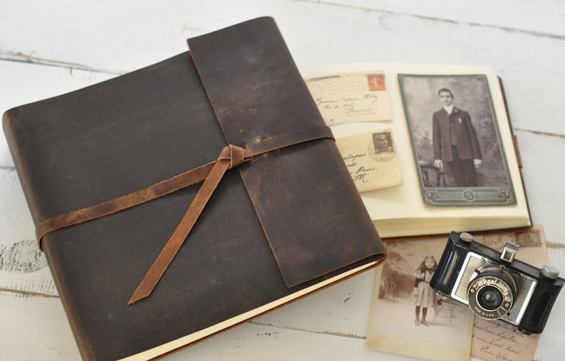 Leather Photo Album  rustic leather album w/wrap closure  image 0