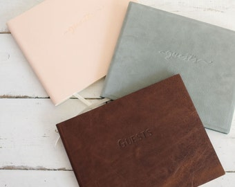 Classic Leather Guest Book - or Leather Photo Album Guestbook