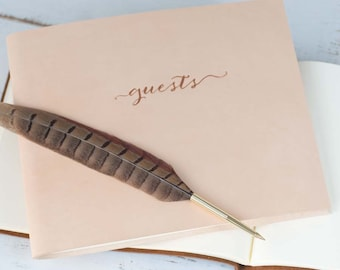 Classic Leather Guest Book - Custom Photo Guestbook