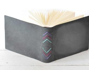 Charcoal Buckskin Leather Album w/Chevron Embroidery - by Claire Magnolia