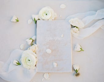 Wedding Vow Book - Archival Wedding Vow Keepsake Book with double-faced satin ribbon - by Claire Magnolia