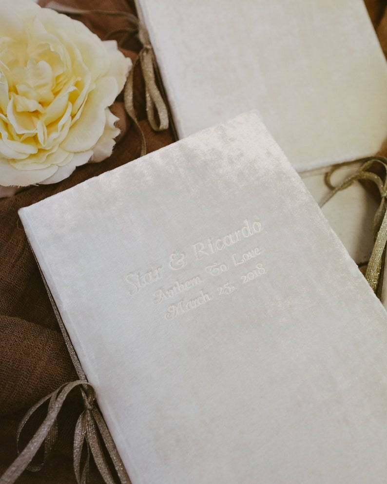 by Claire Magnolia Wedding Vows Book Personalized with Silk Ribbon or Metallic Ribbon