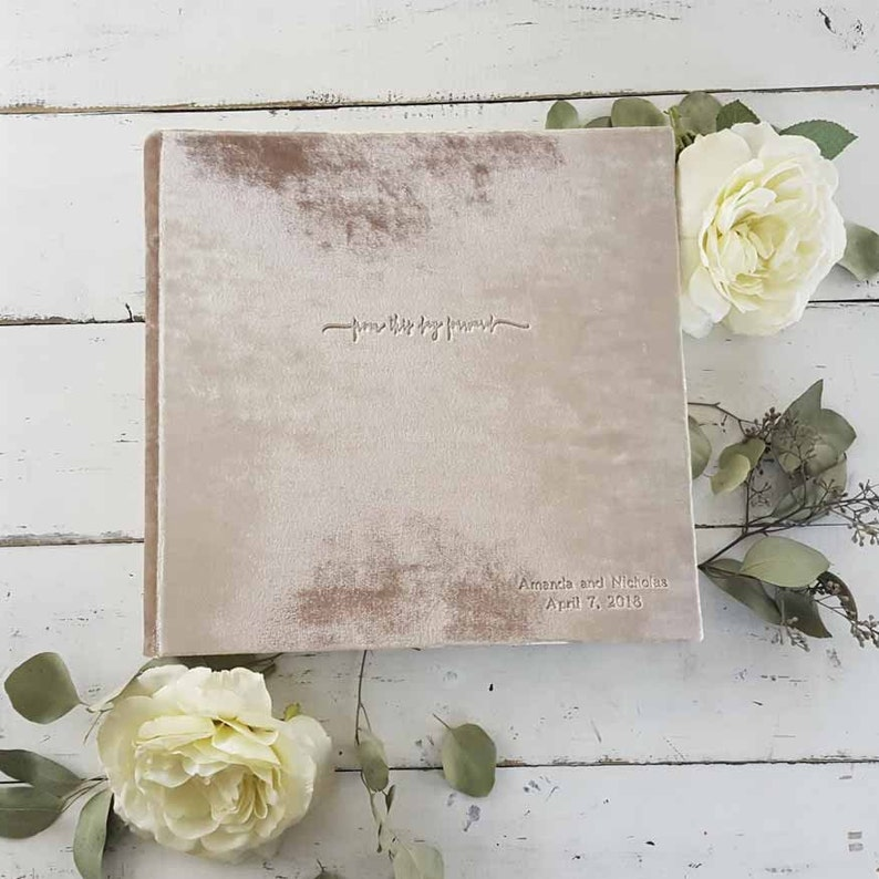 Velvet Photo Album with Optional Photo Frame  by Champagne