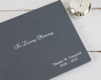 Memorial Guest Book - Embossed Funeral Book, In Loving Memory
