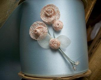 1 Ribbon work flower made of silk thread silk organdy leaves