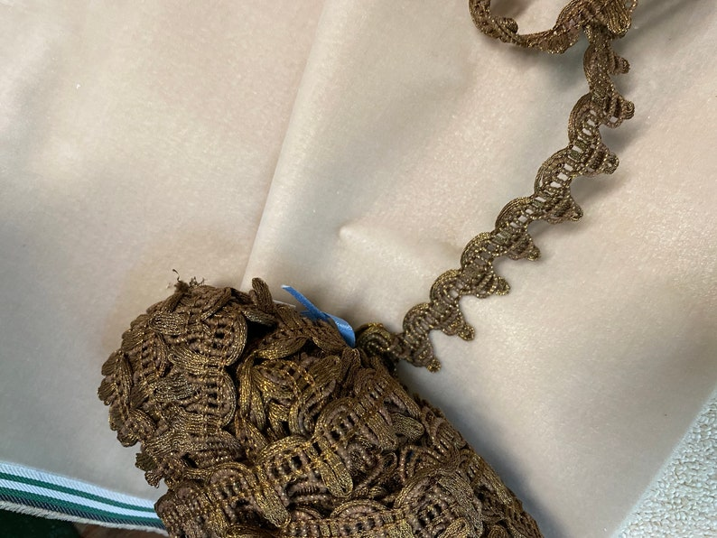 Antique french metal trim  yardage bronze gold color