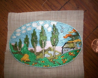 Antique hand loomed scenic applique 1930 made in Germany
