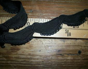 vintage french black passementerie trim