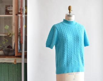Vintage robins egg blue ANGORA wool sweater top
