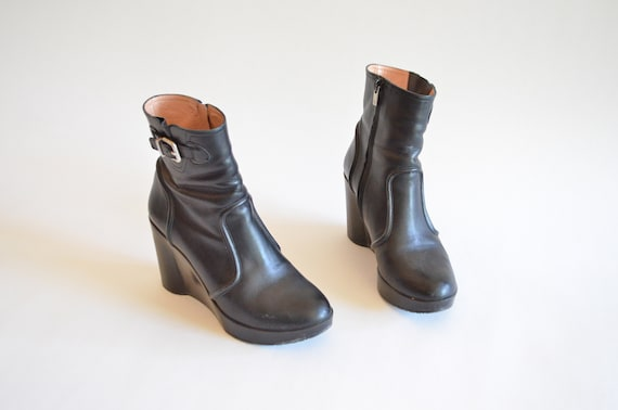 ROBERT leather ankle boots black 7 CLERGERIE Vintage OqwCUdO