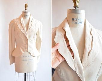 Vintage 1980s FAUST statement cream blazer