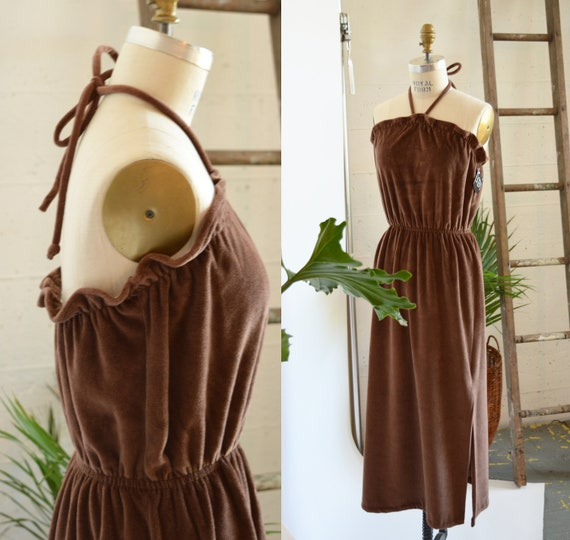 Vintage 70s TERRY CLOTH chocolate brown dress