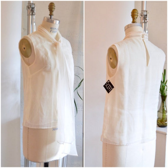Vintage ORGANZA sheer white top