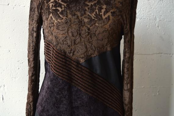 Vintage LOLITA BIS velvet patchwork mini dress - image 3