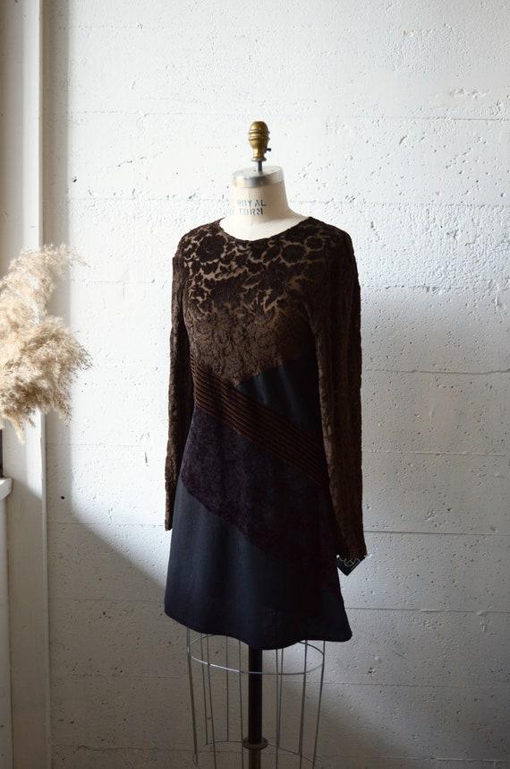 Vintage LOLITA BIS velvet patchwork mini dress - image 2