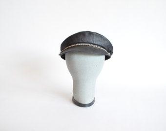 Vintage 1980s LEATHER paige boy hat