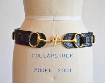 Vintage 1980s HORSE bit black leather belt