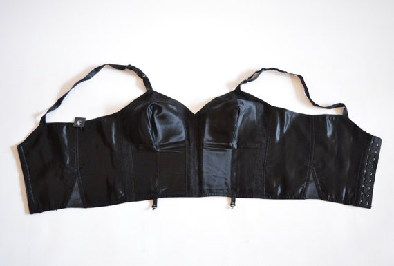 Vintage SATIN cropped black bustier / 1950's shape