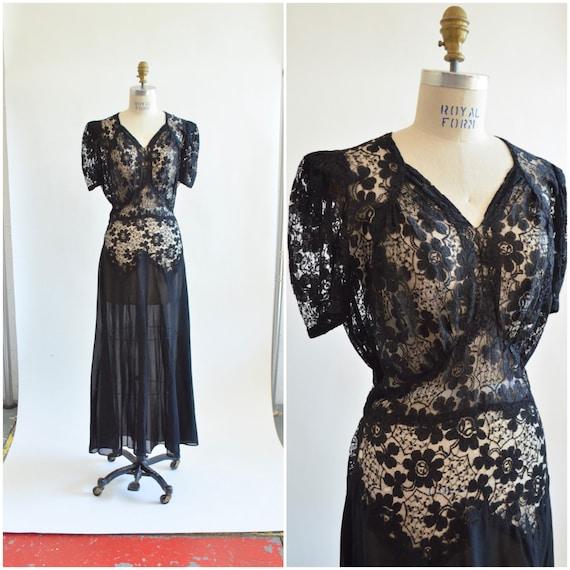 Vintage 1940s black LACE evening dress