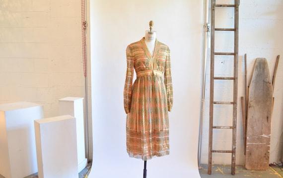 Vintage 60's MALCOM STARR chiffon floral dress / S