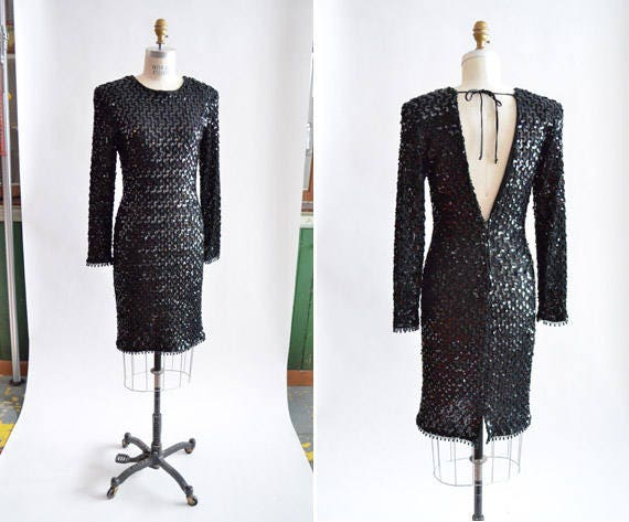 Vintage 1980s BACKLESS sequined party dress