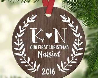 Wedding Gift for Couple First Christmas Ornament Married Personalized Wedding Ornament Wedding Christmas Ornament Wood Rustic Year Initials