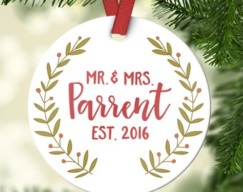 Christmas Ornaments Personalized Wedding Ornament Personalized Wedding Gifts for Couple First Christmas Ornament Married Mr and Mrs Cute
